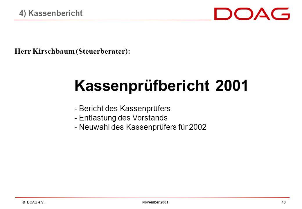  DOAG e.V., November 200139 Tagesordnung 1.Begrüßung 2.Beschlussfähigkeit 3.Bericht des Vorstandes 4.Kassenbericht 5.Entlastung des Vorstandes 6.Plan