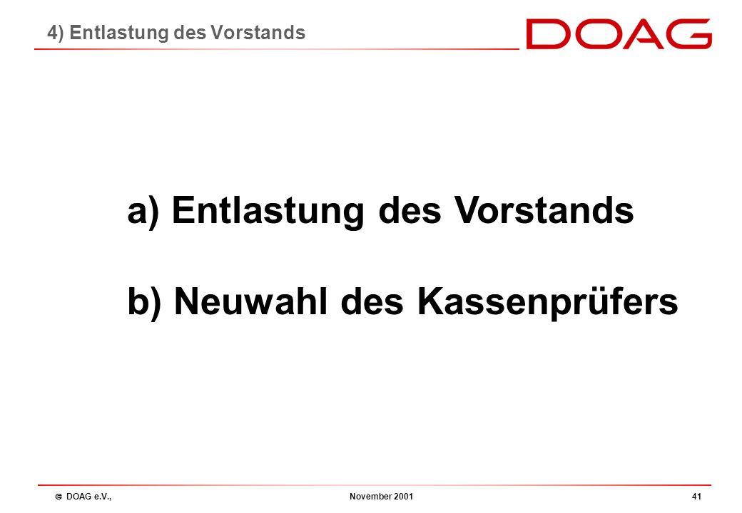  DOAG e.V., November 200140 Kassenprüfbericht 2001 - Bericht des Kassenprüfers - Entlastung des Vorstands - Neuwahl des Kassenprüfers für 2002 Herr K