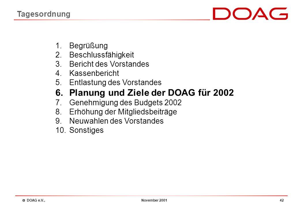  DOAG e.V., November 200141 a) Entlastung des Vorstands b) Neuwahl des Kassenprüfers 4) Entlastung des Vorstands