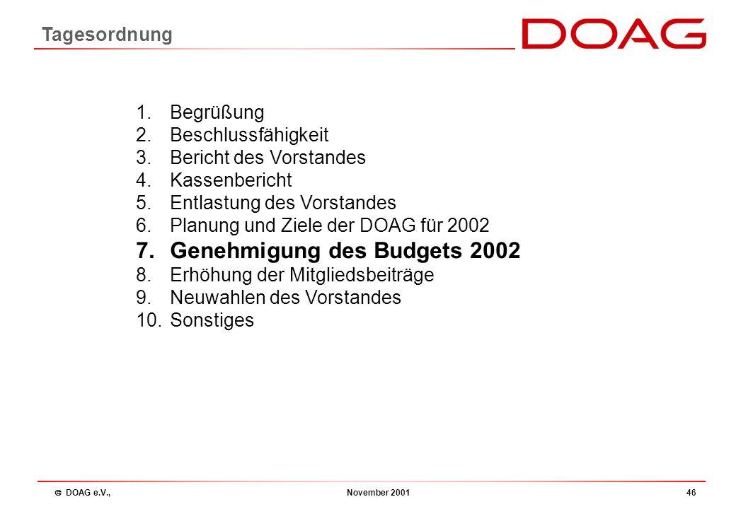  DOAG e.V., November 200145 5) Vorschlag Budget 2002