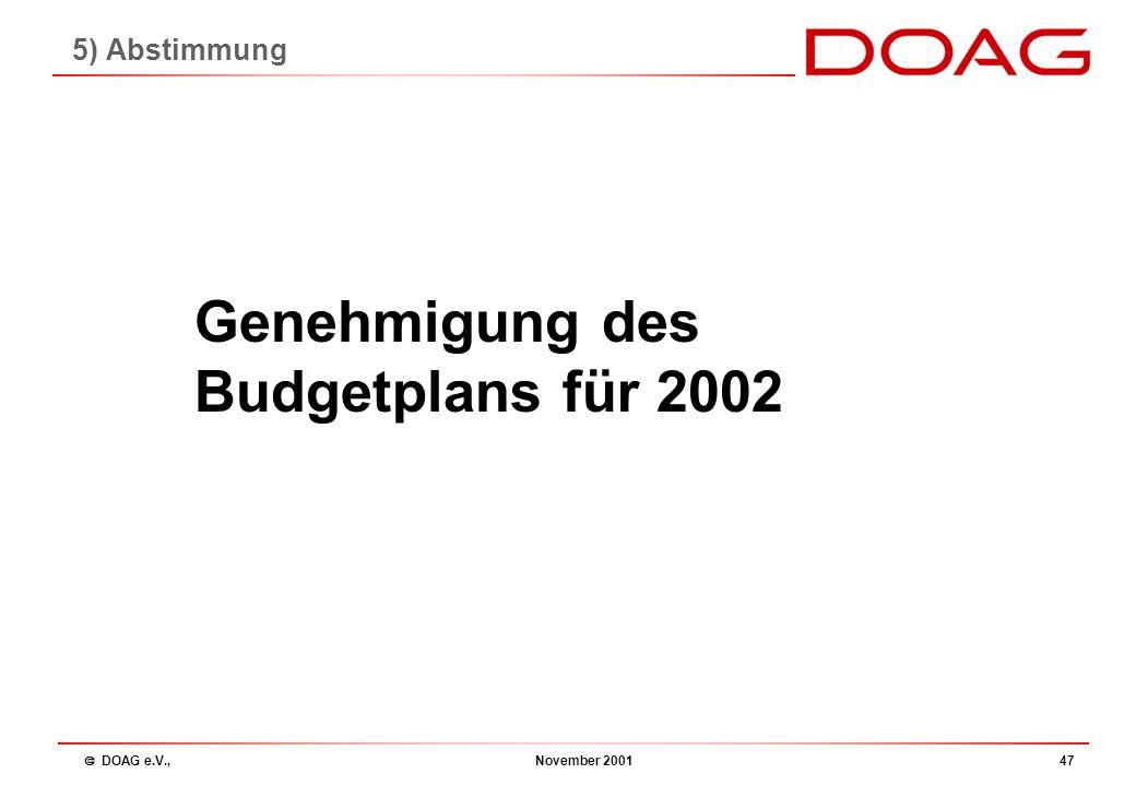  DOAG e.V., November 200146 Tagesordnung 1.Begrüßung 2.Beschlussfähigkeit 3.Bericht des Vorstandes 4.Kassenbericht 5.Entlastung des Vorstandes 6.Plan
