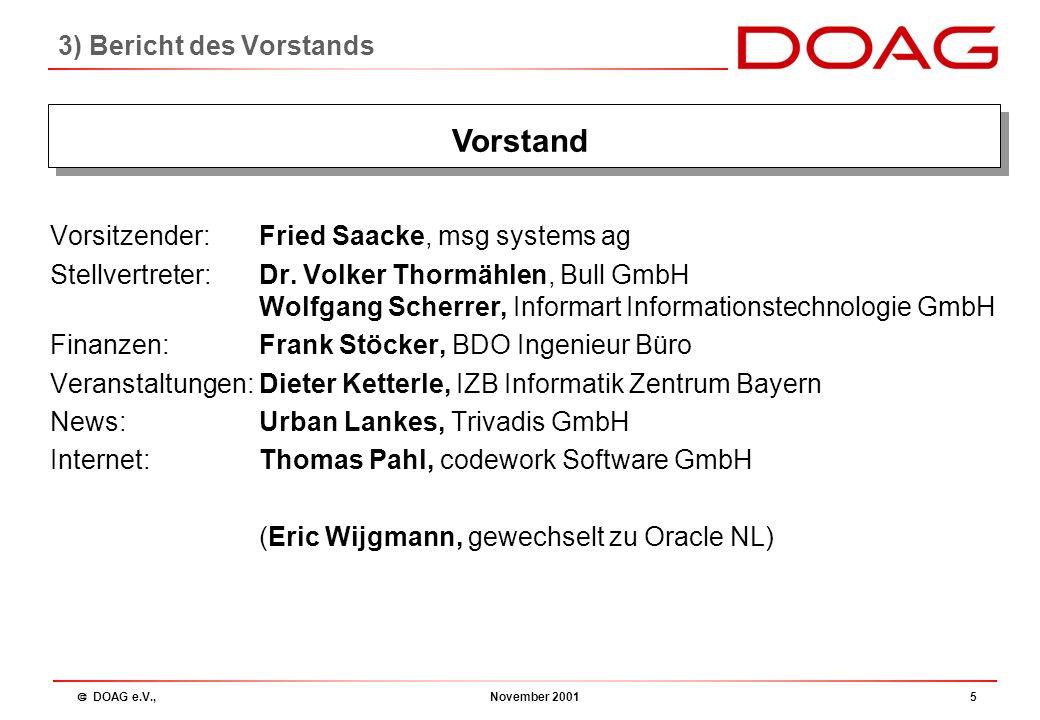  DOAG e.V., November 200115 Regionalgruppen Wolgang Scherrer: 3) Bericht des Vorstands: Regionalgruppen - Vorstellung der Regioleiter - Tätigkeiten 2001