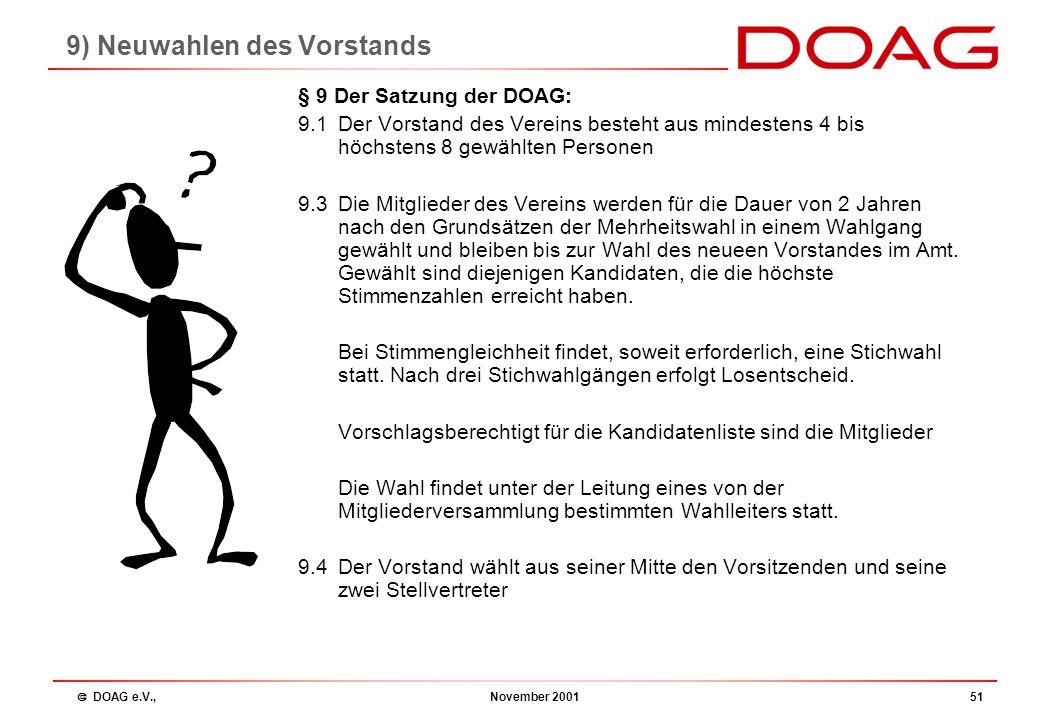  DOAG e.V., November 200150 Tagesordnung 1.Begrüßung 2.Beschlussfähigkeit 3.Bericht des Vorstandes 4.Kassenbericht 5.Entlastung des Vorstandes 6.Plan