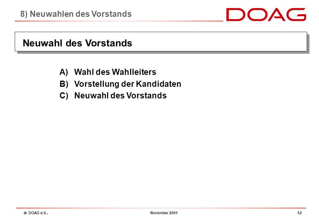  DOAG e.V., November 200151 § 9 Der Satzung der DOAG: 9.1Der Vorstand des Vereins besteht aus mindestens 4 bis höchstens 8 gewählten Personen 9.3Die