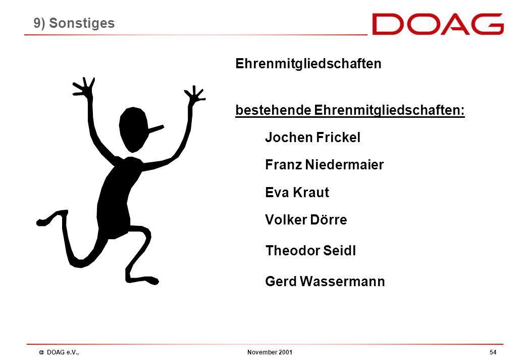  DOAG e.V., November 200153 8) Neuwahlen des Vorstands 1.Dieter Ketterle, IZB Informatik Zentrum Bayern, München 73 2.Urban Lankes, Trivadis GmbH, St