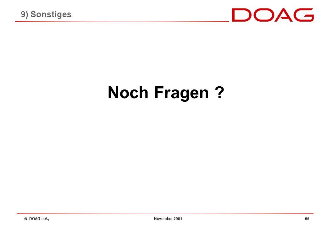  DOAG e.V., November 200154 Ehrenmitgliedschaften bestehende Ehrenmitgliedschaften: Jochen Frickel Franz Niedermaier Eva Kraut Volker Dörre Theodor S