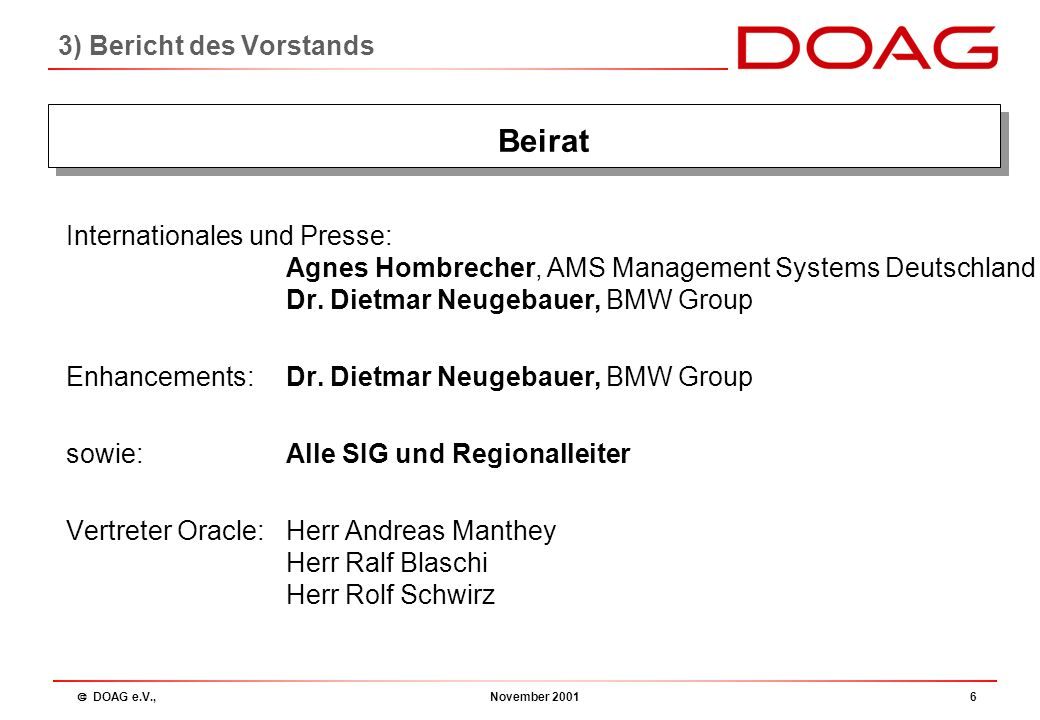  DOAG e.V., November 20015 Vorsitzender:Fried Saacke, msg systems ag Stellvertreter:Dr.