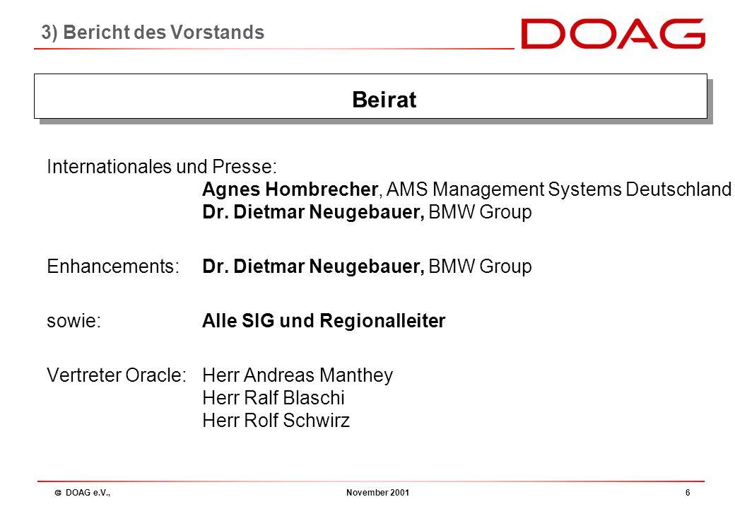  DOAG e.V., November 200136 Finanzbericht 2001 Frank Stöcker: 3) Bericht des Vorstands: Finanzbericht