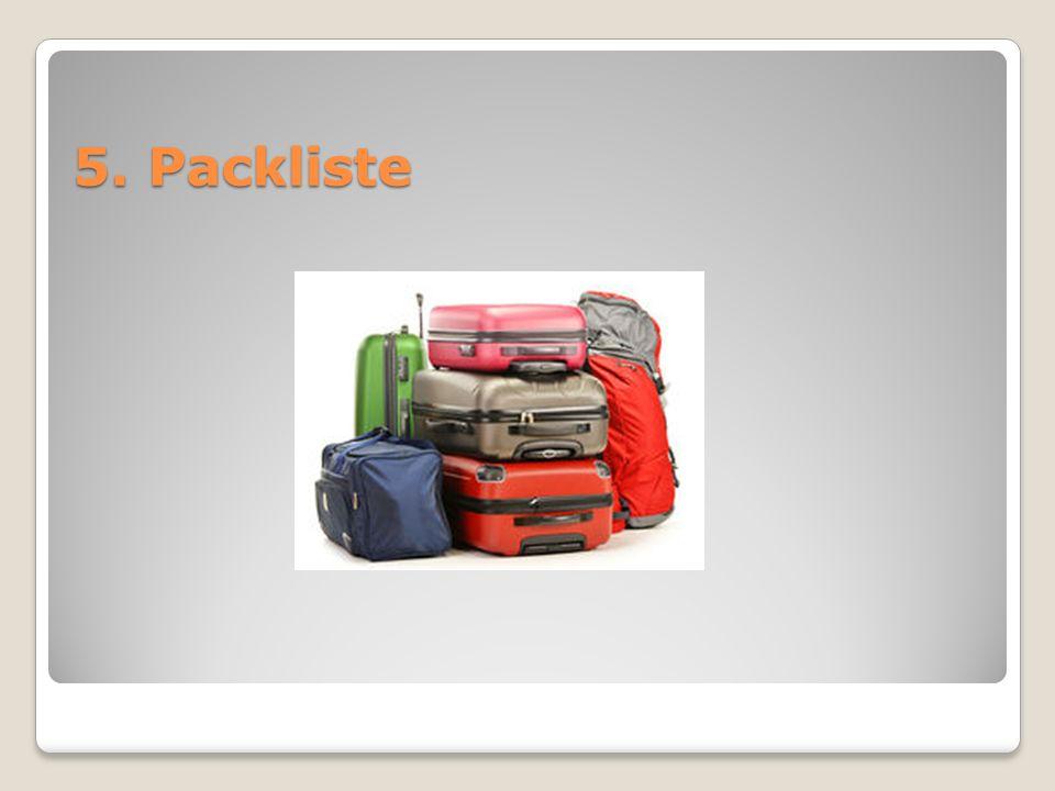 5. Packliste