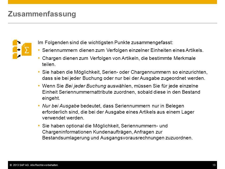 ©2013 SAP AG. Alle Rechte vorbehalten.13 Im Folgenden sind die wichtigsten Punkte zusammengefasst:  Seriennummern dienen zum Verfolgen einzelner Einh