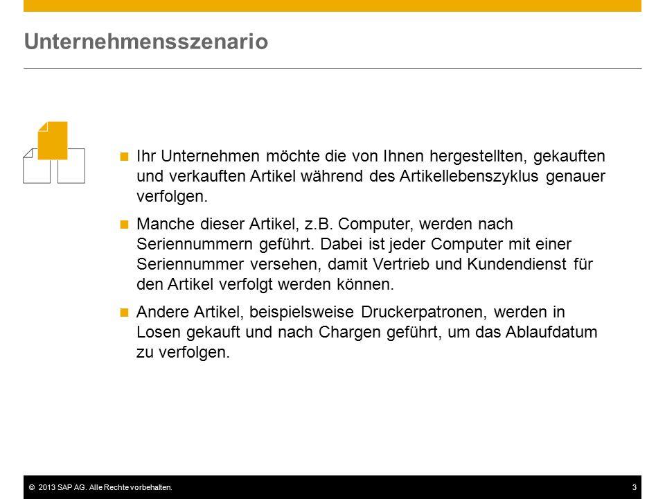 ©2013 SAP AG. Alle Rechte vorbehalten.3 Ihr Unternehmen möchte die von Ihnen hergestellten, gekauften und verkauften Artikel während des Artikellebens