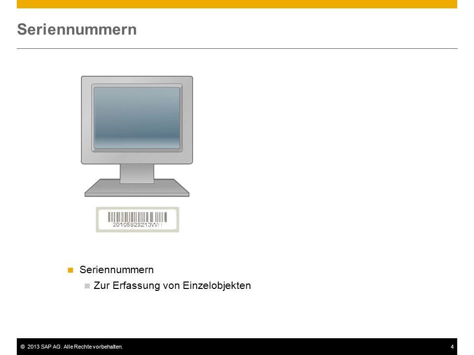 ©2013 SAP AG. Alle Rechte vorbehalten.4 Seriennummern Zur Erfassung von Einzelobjekten