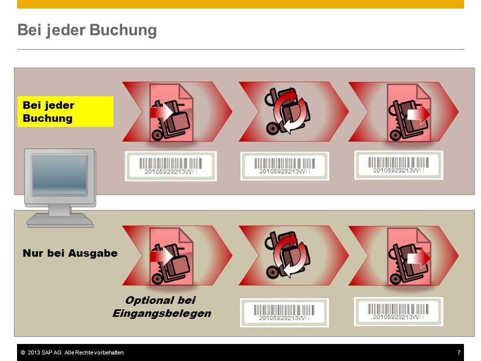 ©2013 SAP AG. Alle Rechte vorbehalten.7 Bei jeder Buchung Nur bei Ausgabe Optional bei Eingangsbelegen