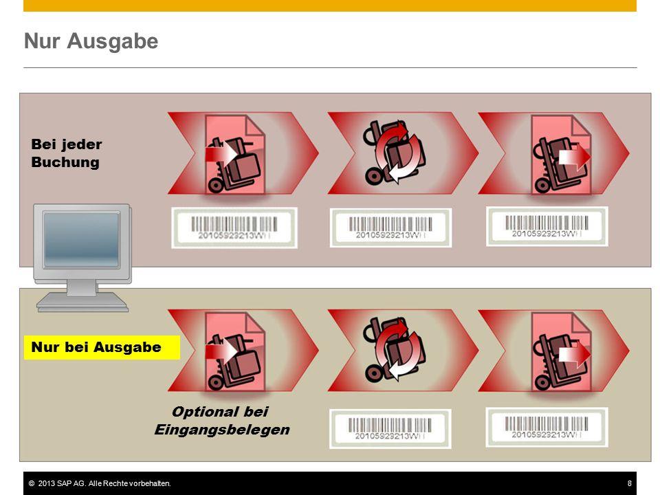 ©2013 SAP AG. Alle Rechte vorbehalten.8 Nur Ausgabe Bei jeder Buchung Nur bei Ausgabe Optional bei Eingangsbelegen
