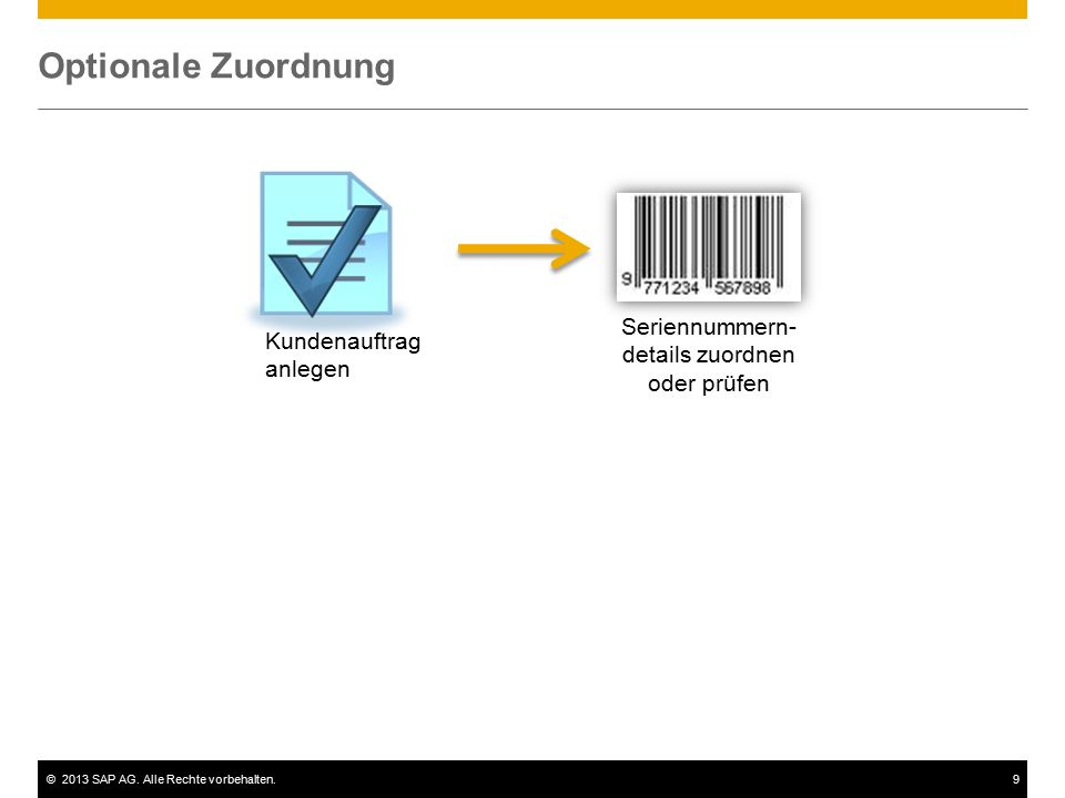 ©2013 SAP AG. Alle Rechte vorbehalten.9 Optionale Zuordnung Kundenauftrag anlegen Seriennummern- details zuordnen oder prüfen