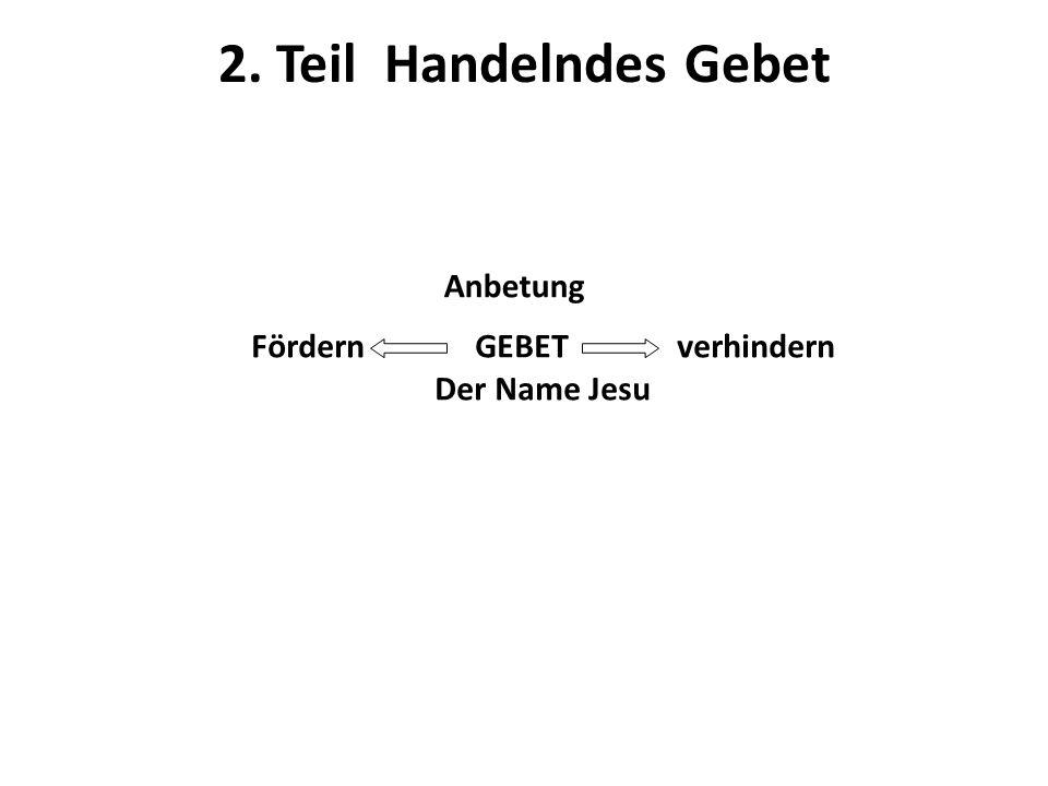 2. Teil Handelndes Gebet Anbetung Fördern GEBET verhindern Der Name Jesu