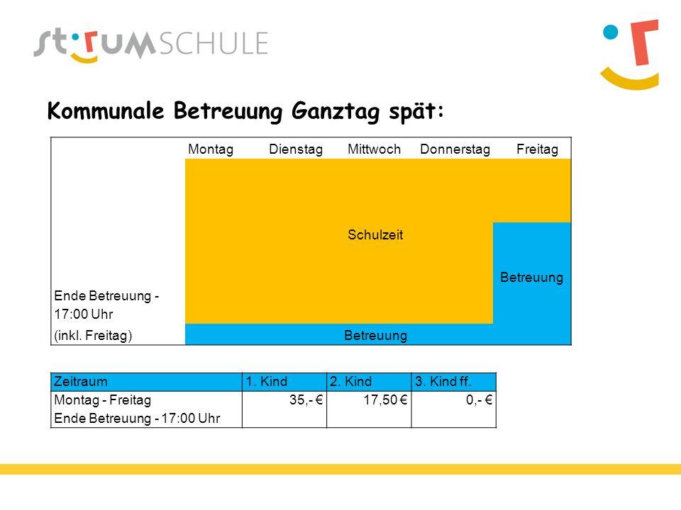 Kommunale Betreuung Ganztag spät: Montag Dienstag MittwochDonnerstag Freitag Schulzeit Betreuung Ende Betreuung - 17:00 Uhr (inkl.