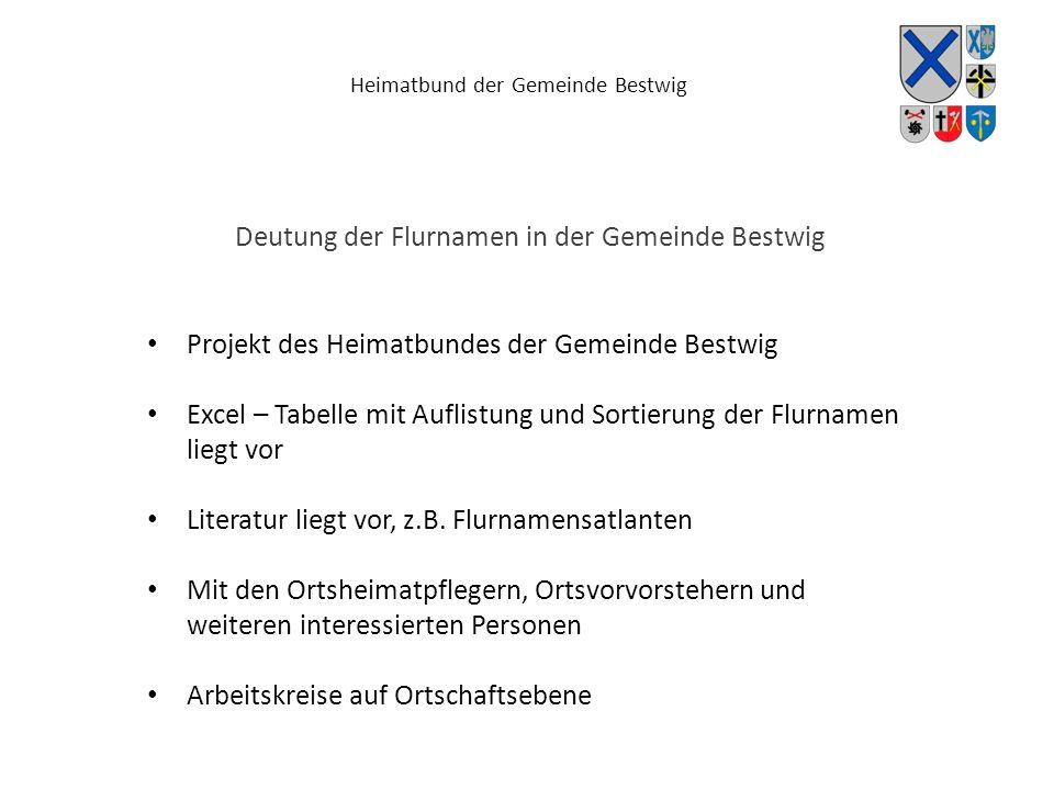 Heimatbund der Gemeinde Bestwig Deutung der Flurnamen in der Gemeinde Bestwig Projekt des Heimatbundes der Gemeinde Bestwig Excel – Tabelle mit Auflis