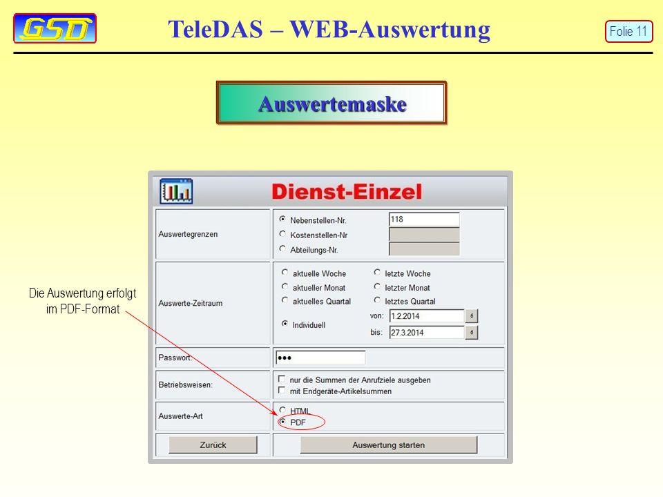 TeleDAS – WEB-Auswertung Auswertemaske Die Auswertung erfolgt im PDF-Format Folie 11