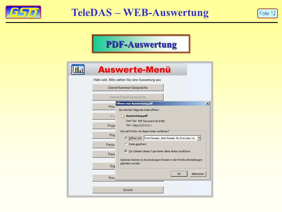 TeleDAS – WEB-Auswertung PDF-Auswertung Folie 12