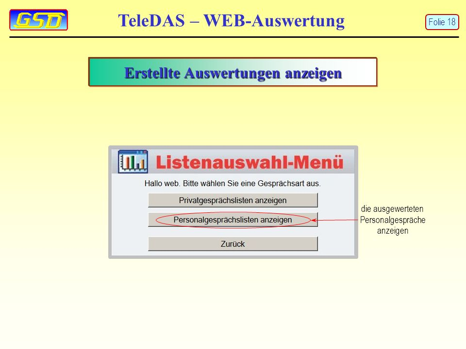 Erstellte Auswertungen anzeigen die ausgewerteten Personalgespräche anzeigen TeleDAS – WEB-Auswertung Folie 18
