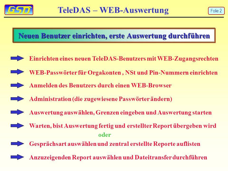 Einrichten eines neuen TeleDAS-Benutzers mit WEB-Zugangsrechten WEB-Passwörter für Orgakonten, NSt und Pin-Nummern einrichten Anmelden des Benutzers durch einen WEB-Browser Administration (die zugewiesene Passwörter ändern) Auswertung auswählen, Grenzen eingeben und Auswertung starten TeleDAS – WEB-Auswertung Neuen Benutzer einrichten, erste Auswertung durchführen Anzuzeigenden Report auswählen und Dateitransfer durchführen Folie 2 Gesprächsart auswählen und zentral erstellte Reporte auflisten Warten, bist Auswertung fertig und erstellter Report übergeben wird oder