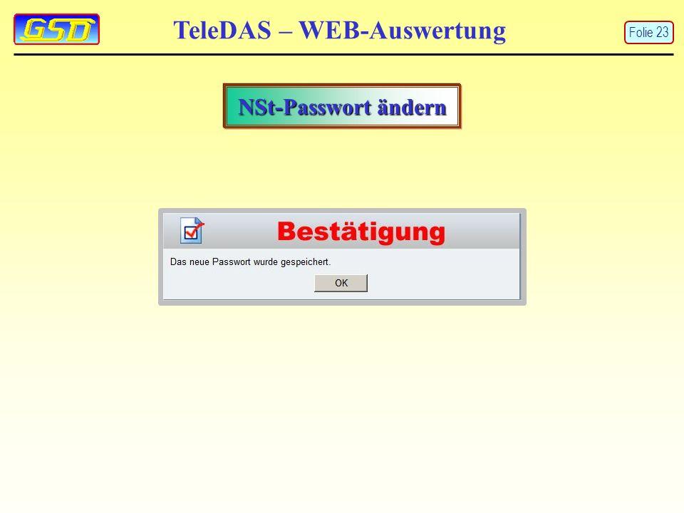 TeleDAS – WEB-Auswertung NSt-Passwort ändern Folie 23