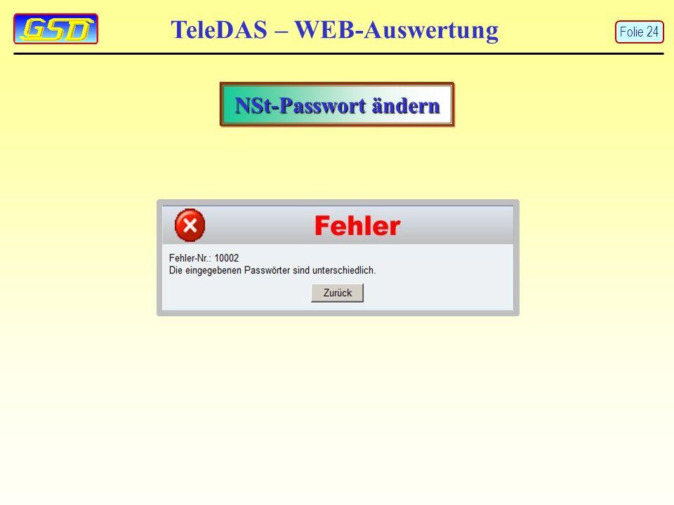 TeleDAS – WEB-Auswertung NSt-Passwort ändern Folie 24