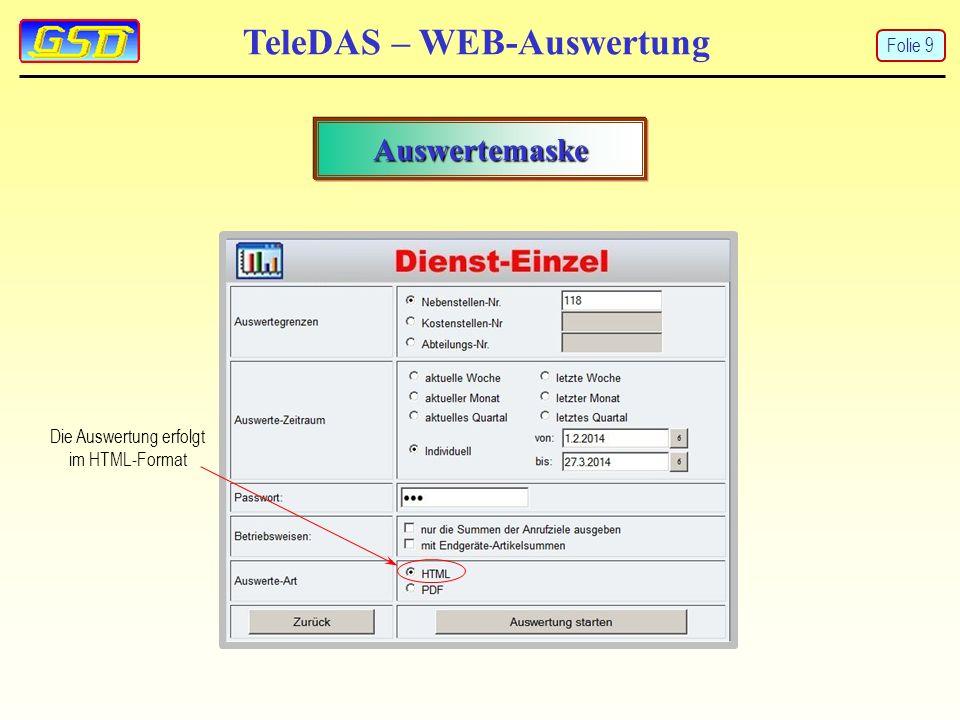 TeleDAS – WEB-Auswertung Hauptmenü Passwörter für NSt, Pin-Nr. und Orgakonten ändern Folie 20