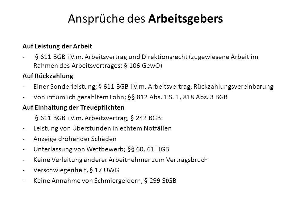 Ansprüche des Arbeitsgebers Auf Leistung der Arbeit - § 611 BGB i.V.m. Arbeitsvertrag und Direktionsrecht (zugewiesene Arbeit im Rahmen des Arbeitsver