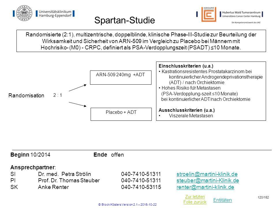 Entitäten Zur letzten Folie zurück Spartan-Studie Einschlusskriterien (u.a.) Kastrationsresistentes Prostatakarzinom bei kontinuierlicher Androgendepr