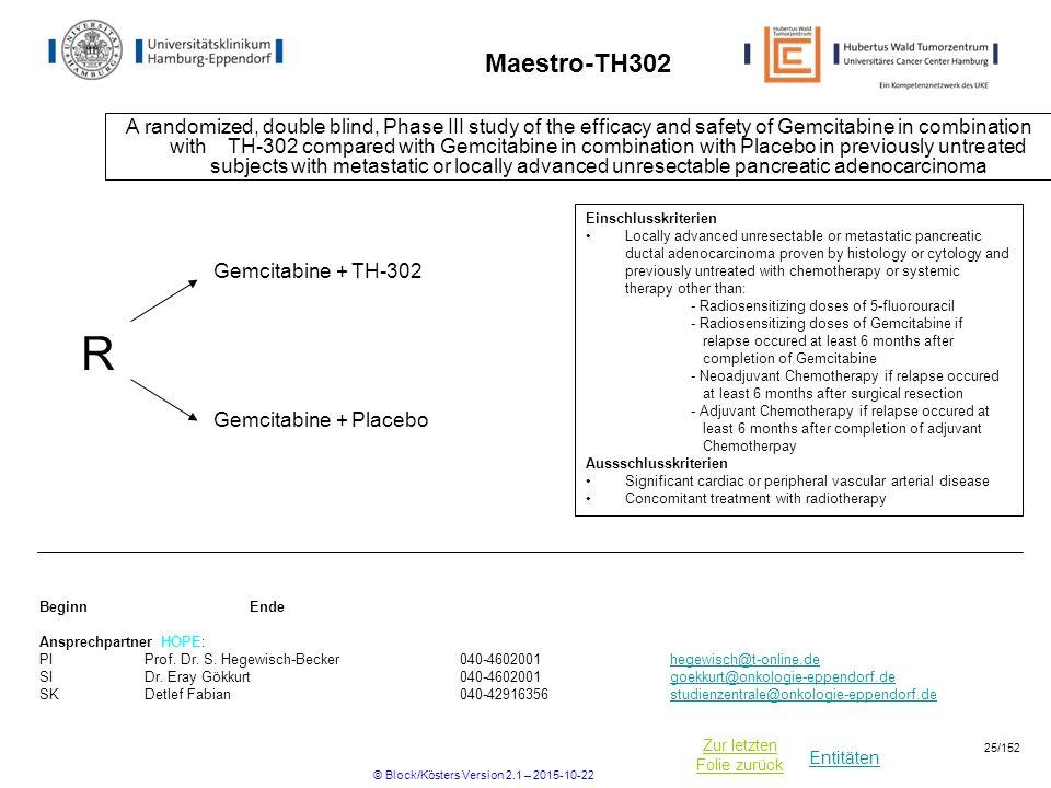Entitäten Zur letzten Folie zurück Maestro-TH302 A randomized, double blind, Phase III study of the efficacy and safety of Gemcitabine in combination