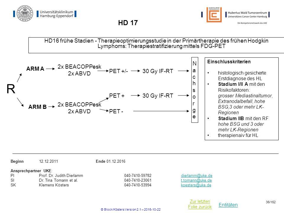 Entitäten Zur letzten Folie zurück HD 17 HD16 frühe Stadien - Therapieoptimierungsstudie in der Primärtherapie des frühen Hodgkin Lymphoms: Therapiest