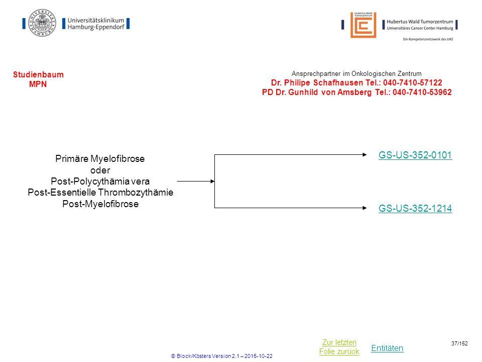 Entitäten Zur letzten Folie zurück Studienbaum MPN Ansprechpartner im Onkologischen Zentrum Dr. Philipe Schafhausen Tel.: 040-7410-57122 PD Dr. Gunhil