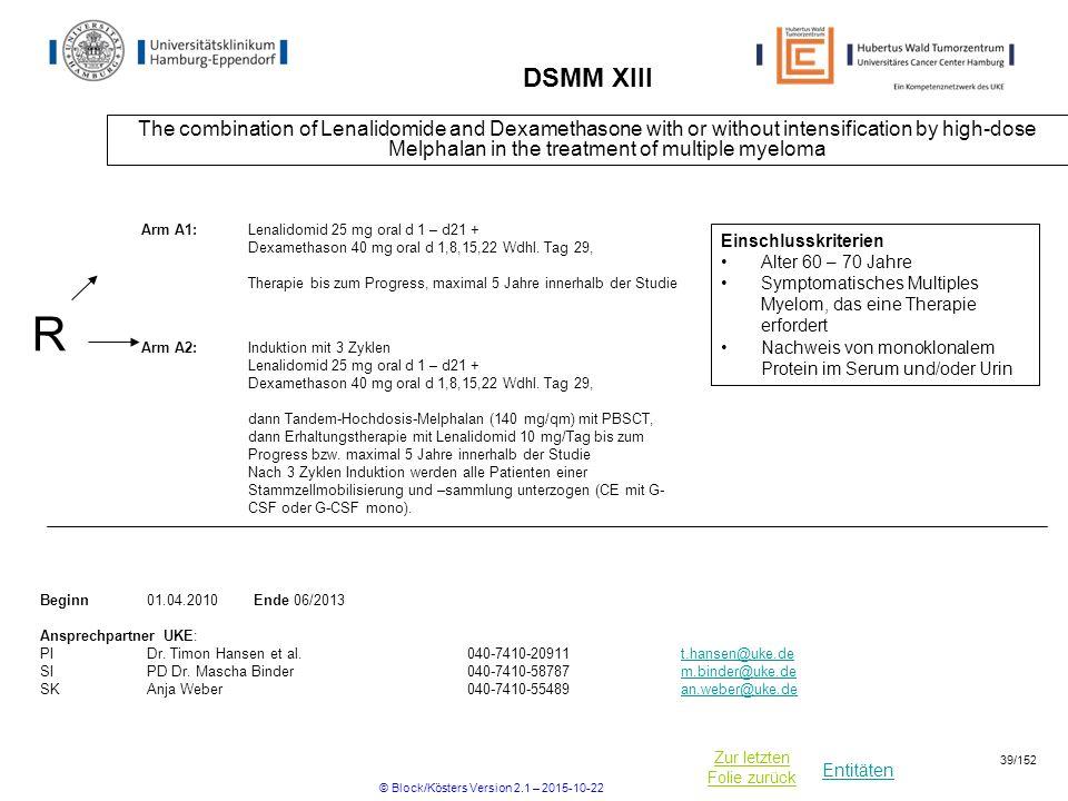 Entitäten Zur letzten Folie zurück DSMM XIII The combination of Lenalidomide and Dexamethasone with or without intensification by high-dose Melphalan