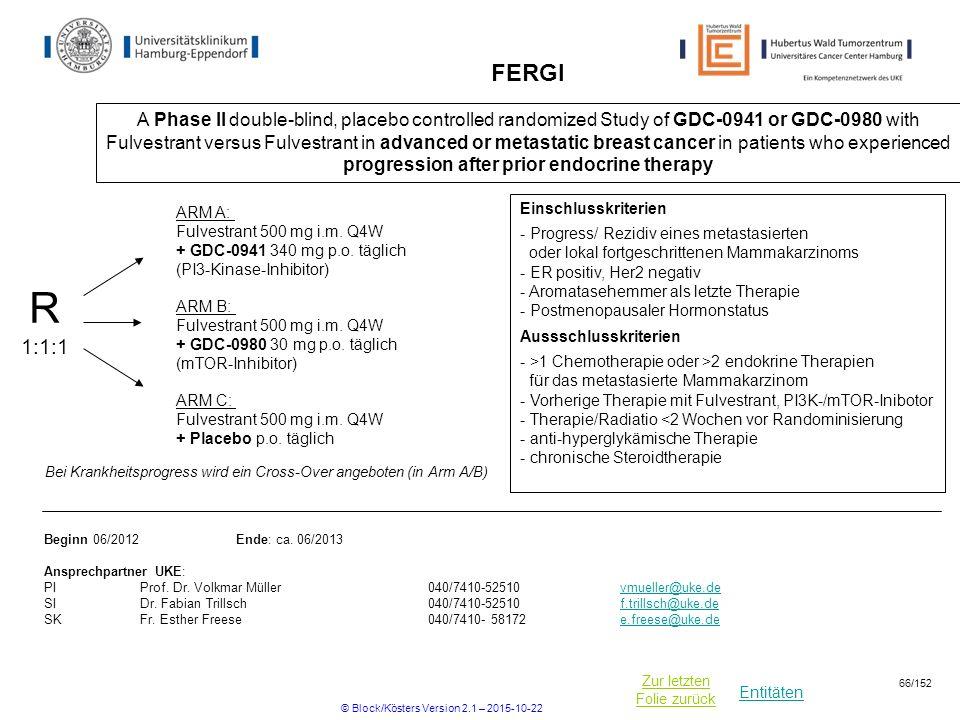 Entitäten Zur letzten Folie zurück FERGI A Phase II double-blind, placebo controlled randomized Study of GDC-0941 or GDC-0980 with Fulvestrant versus