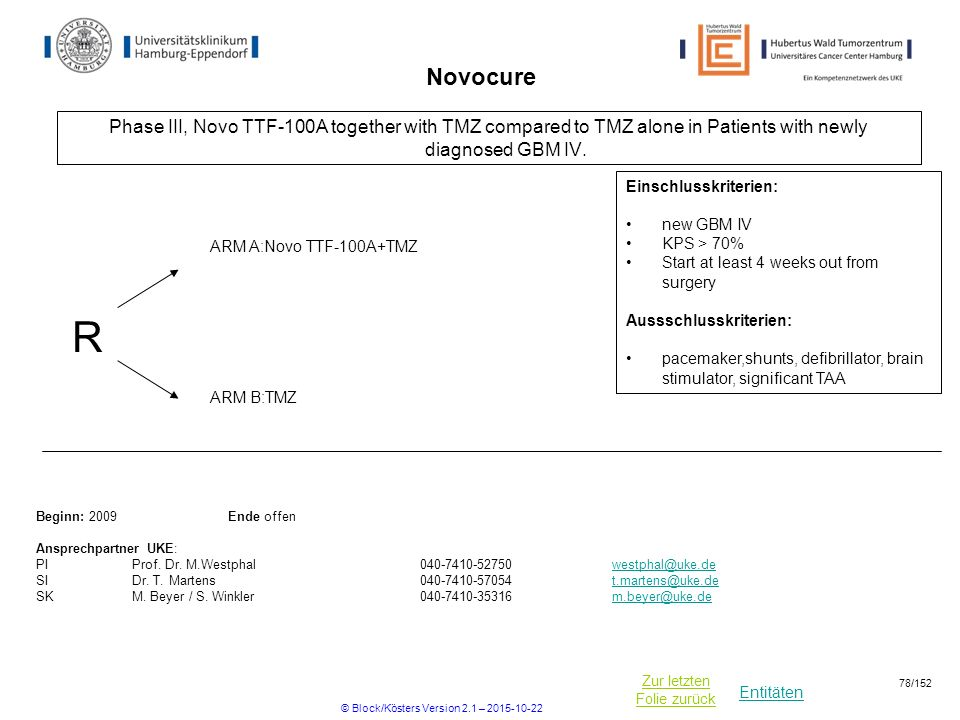 Entitäten Zur letzten Folie zurück Novocure Phase III, Novo TTF-100A together with TMZ compared to TMZ alone in Patients with newly diagnosed GBM IV.