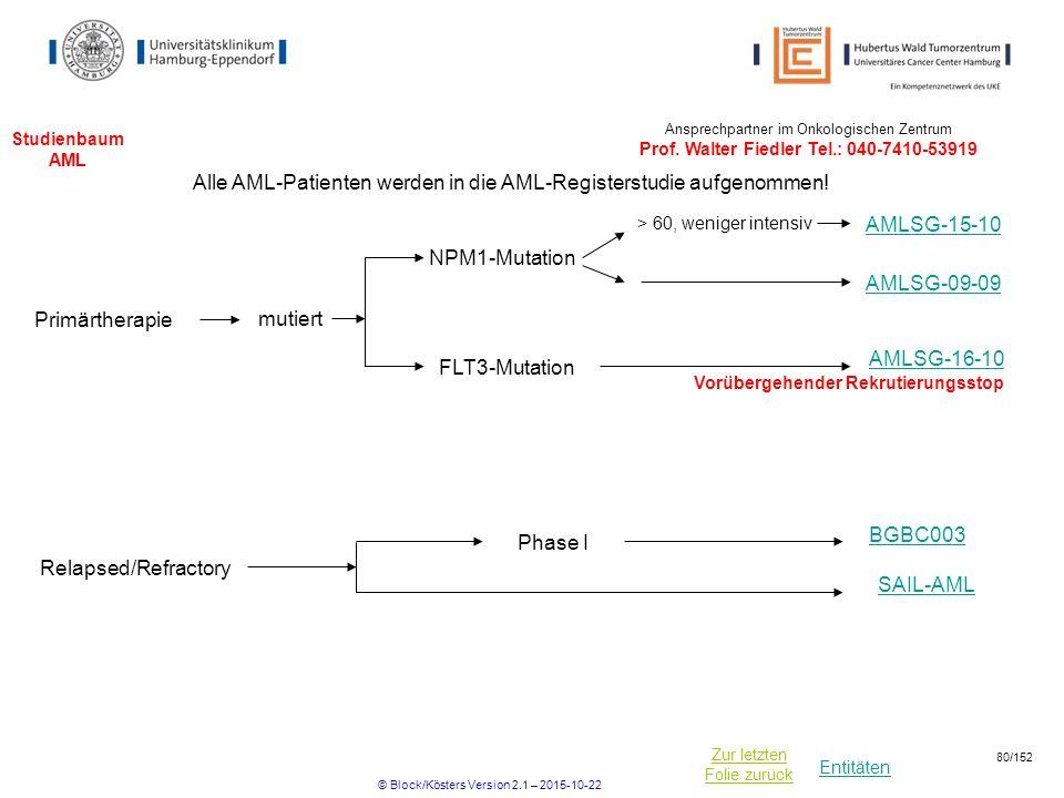 Entitäten Zur letzten Folie zurück Studienbaum AML NPM1-Mutation > 60, weniger intensiv Alle AML-Patienten werden in die AML-Registerstudie aufgenomme