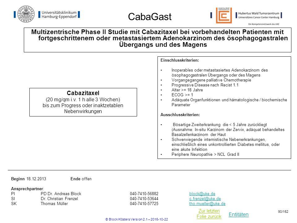 Entitäten Zur letzten Folie zurück CabaGast Multizentrische Phase II Studie mit Cabazitaxel bei vorbehandelten Patienten mit fortgeschrittenem oder me