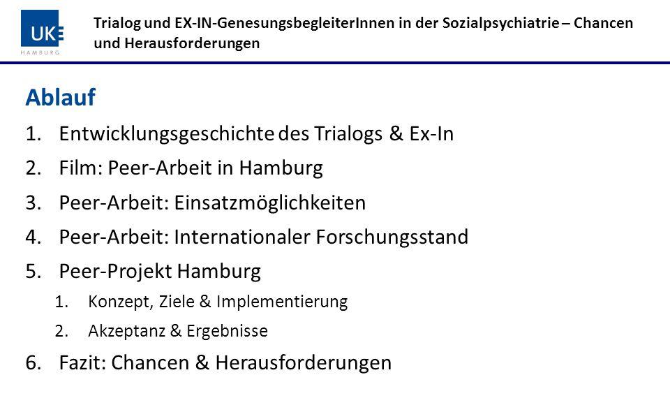 Peer-Netzwerk Trialog und EX-IN-GenesungsbegleiterInnen in der Sozialpsychiatrie – Chancen und Herausforderungen ++++++++++ Implementierung systematischer Betroffenen- und Angehörigen-Peer-Arbeit in Hamburg 10 Standorte 18 Betroffenen-Peers 8 Angehörigen-Peers