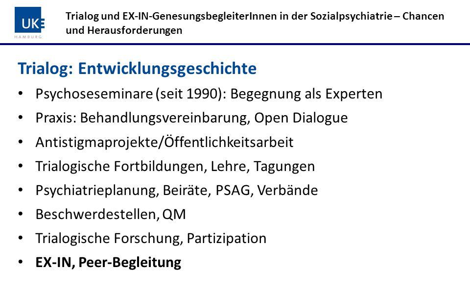 Trialog: Entwicklungsgeschichte Psychoseseminare (seit 1990): Begegnung als Experten Praxis: Behandlungsvereinbarung, Open Dialogue Antistigmaprojekte