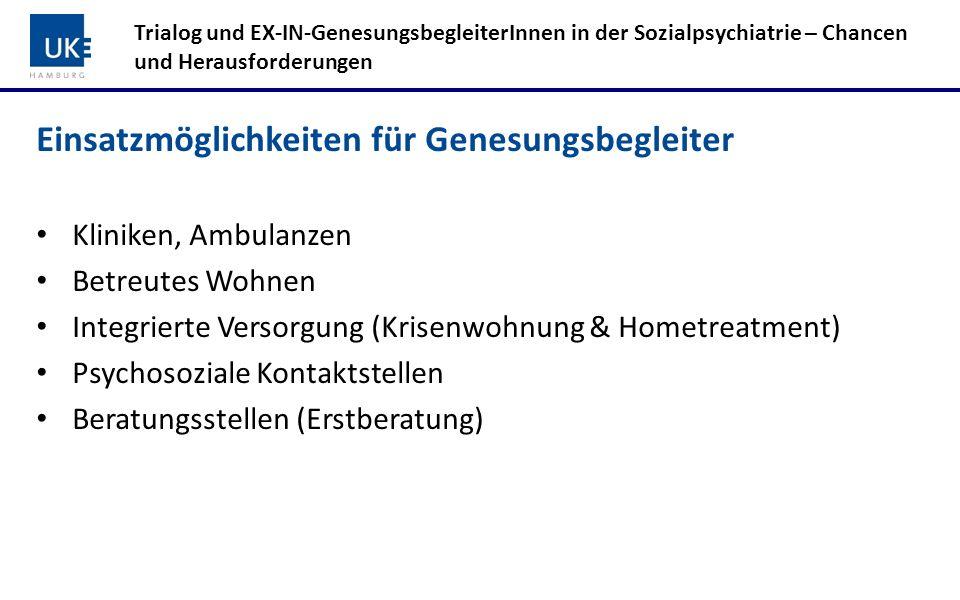 Einsatzmöglichkeiten für Genesungsbegleiter Kliniken, Ambulanzen Betreutes Wohnen Integrierte Versorgung (Krisenwohnung & Hometreatment) Psychosoziale