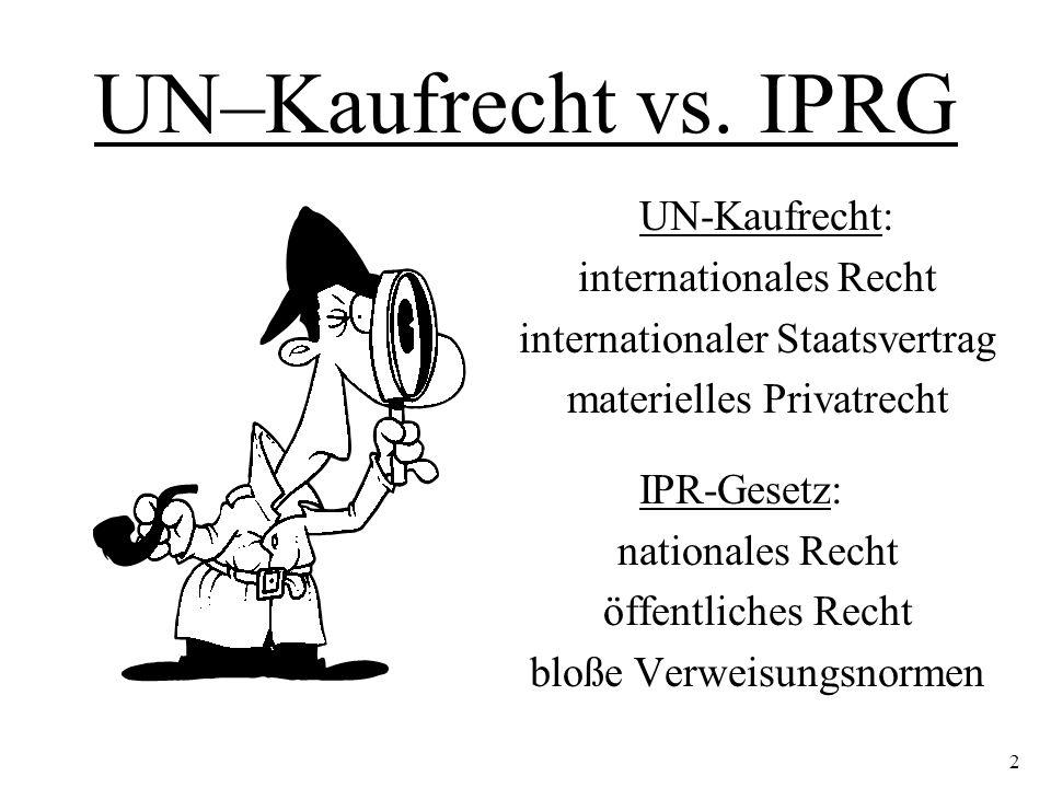 UN–Kaufrecht vs. IPRG UN-Kaufrecht: internationales Recht internationaler Staatsvertrag materielles Privatrecht IPR-Gesetz: nationales Recht öffentlic