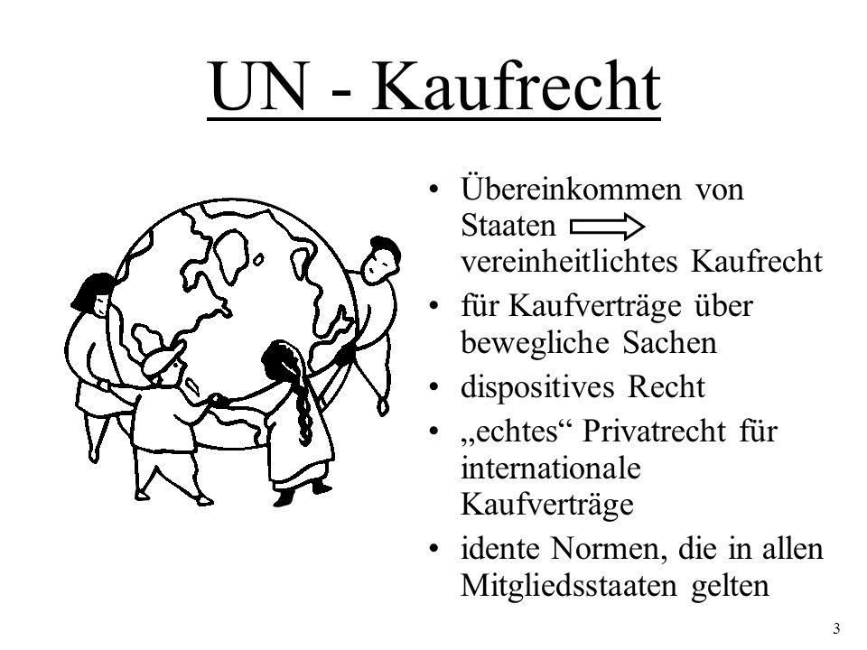 """UN - Kaufrecht Übereinkommen von Staaten vereinheitlichtes Kaufrecht für Kaufverträge über bewegliche Sachen dispositives Recht """"echtes Privatrecht für internationale Kaufverträge idente Normen, die in allen Mitgliedsstaaten gelten 3"""