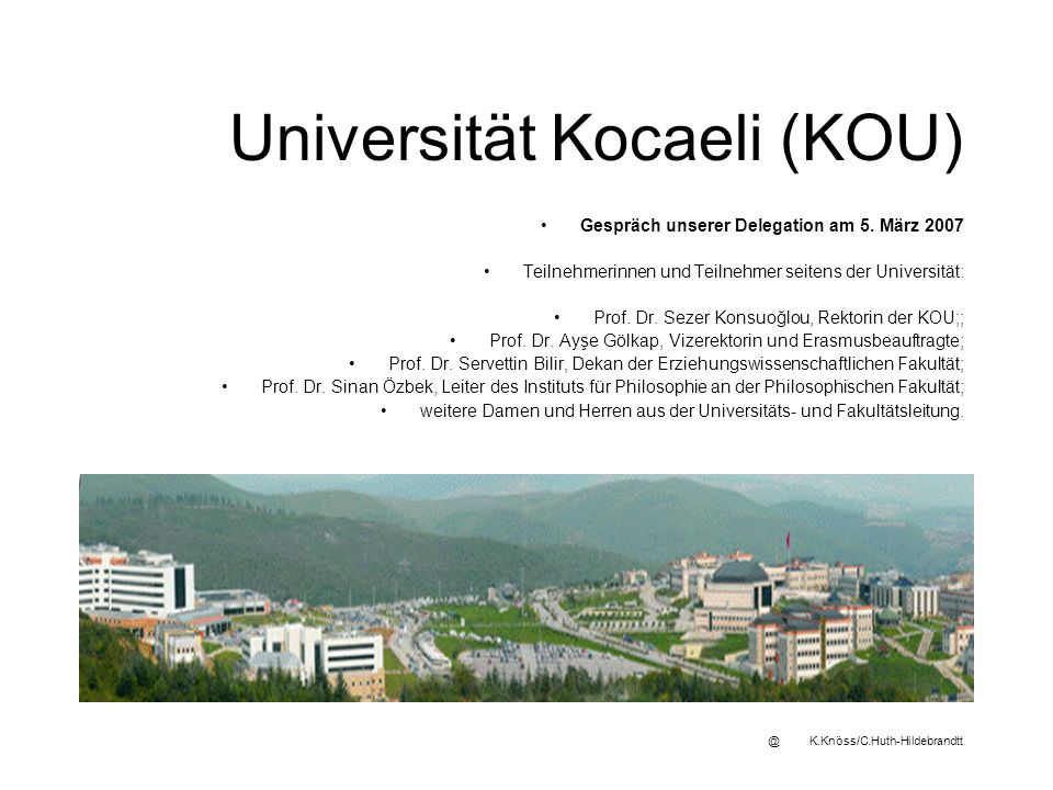 Universität Kocaeli (KOU) Gespräch unserer Delegation am 5.