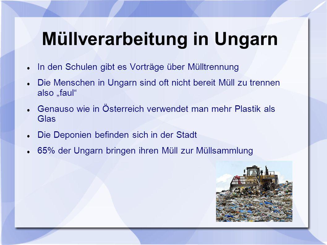 """Müllverarbeitung in Ungarn In den Schulen gibt es Vorträge über Mülltrennung Die Menschen in Ungarn sind oft nicht bereit Müll zu trennen also """"faul"""""""