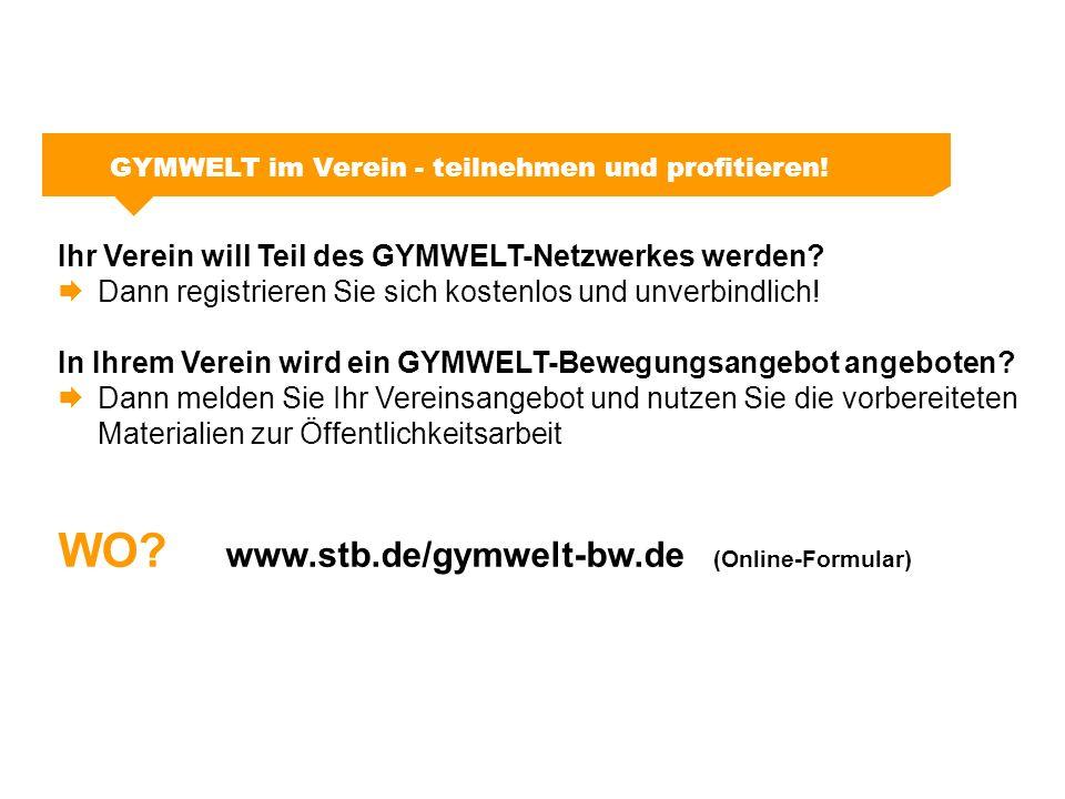 GYMWELT im Verein - teilnehmen und profitieren! Ihr Verein will Teil des GYMWELT-Netzwerkes werden?  Dann registrieren Sie sich kostenlos und unverbi