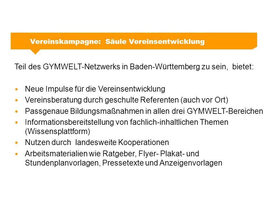 Vereinskampagne: Säule Kommunikation Teil des GYMWELT-Netzwerks in Baden-Württemberg sein, bietet:  Kommunikativer Mehrwert GYMWELT hilft dabei, das fitness- und gesundheitsorientierte Bewegungsangebot im Verein öffentlichkeitswirksam darzustellen: Flyer Plakate Image-Film Pressetexte Vereinssuche im Internet Großflächen und Sonderseiten (Kampagnenwellen) Veranstaltungen (z.
