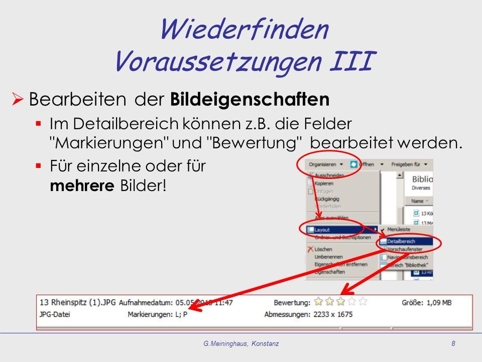 Wiederfinden Voraussetzungen III  Bearbeiten der Bildeigenschaften  Im Detailbereich können z.B. die Felder