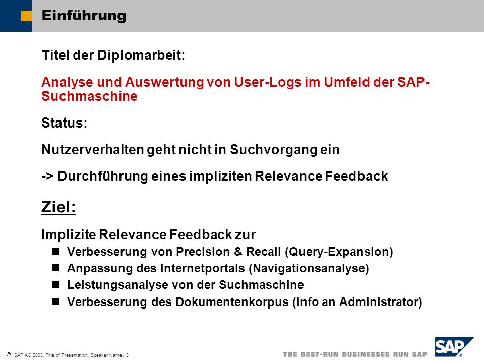  SAP AG 2003, Title of Presentation, Speaker Name / 3 Einführung Titel der Diplomarbeit: Analyse und Auswertung von User-Logs im Umfeld der SAP- Such